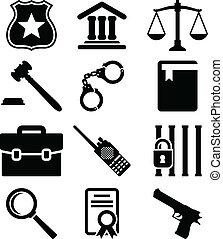 ley, y, justicia, iconos, set.