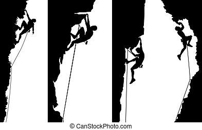 lezec, stěna, zdobit šaty