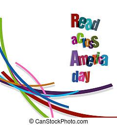 lezen, amerika, door, dag