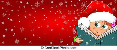 lezen, boek, kerstmis, kind