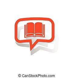 lezen, boodschap, sticker, sinaasappel