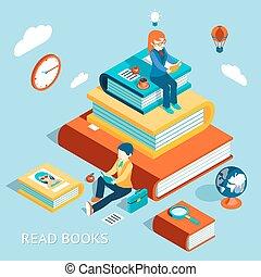lezen, concept, boekjes