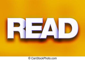 lezen, concept, kleurrijke, woord, kunst