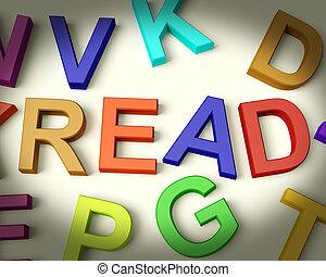lezen, geschreven, in, veelkleurig, plastic, geitjes, brieven