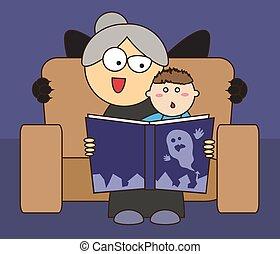 lezen, grootmoeder, verhaal, verschrikkelijk, kleinzoon