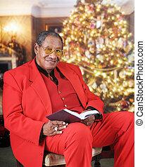 lezen, het kijken, bijbel, op, kerstmis
