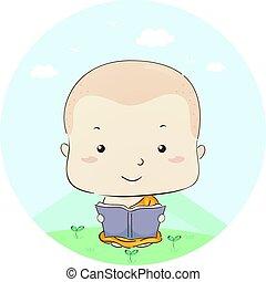 lezen, jongen, boek, monnik, geitje