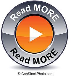 lezen, meer, ronde, button.