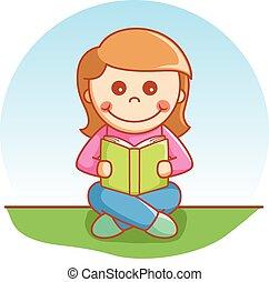 lezen, meisje, boek