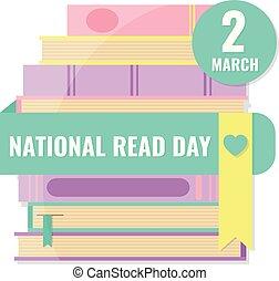 lezen, nationale, dag boeken, wereld, concept.