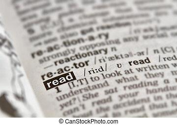 lezen, woord, definitie, tekst