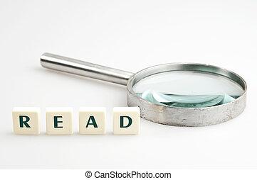 lezen, woord, en, vergrootglas