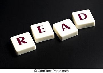 lezen, woord, gemaakt, door, brief, stukken