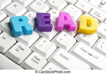 lezen, woord, gemaakt, door, kleurrijke, brieven