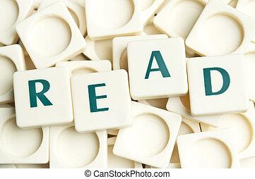 lezen, woord, gemaakt, door, leter, stukken