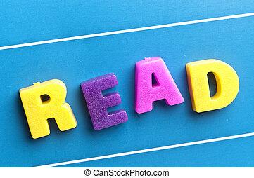 lezen, woord, op, blauwe , plank