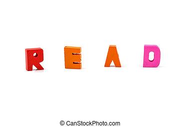lezen, woord, op, houten blokken, vrijstaand, op wit