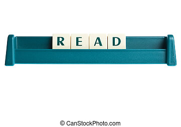 lezen, woord, op, vrijstaand, brieven, plank