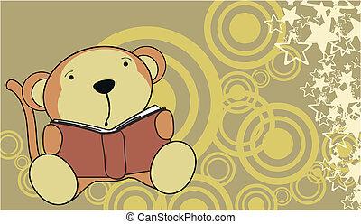lezende , aap, achtergrond, spotprent