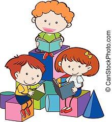 lezende , boekjes , drie kinderen