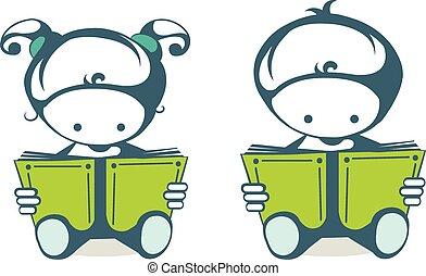 lezende , boekjes , kinderen