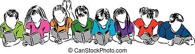 lezende , boekjes , kinderen, illustratie