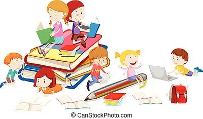 lezende , boekjes , kinderen, samen