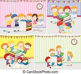 lezende , boekjes , kinderen, vrolijke