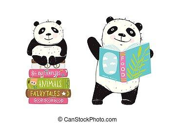 lezende , boekjes , panda draagt