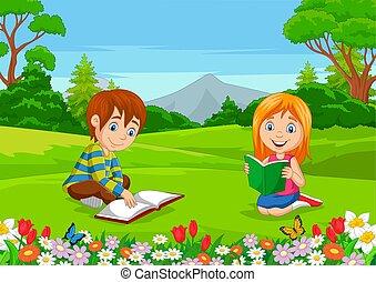 lezende , boekjes , park, spotprent, jongen, meisje