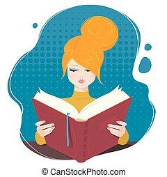 lezende , book., meisje