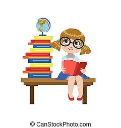 lezende , bureau, boek, meisje, zittende