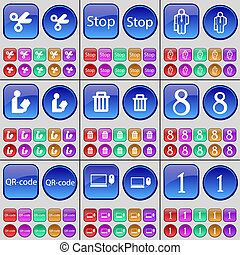 lezende , buttons., set, groenteblik, silhouette, one., draagbare computer, groot, stoppen, qr-code, schaar, multi-colored, acht, afval