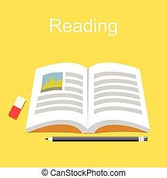 lezende , concept., achtergrond., boek, opleiding, studeren, literature.