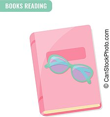 lezende , concept., boekjes , liefde