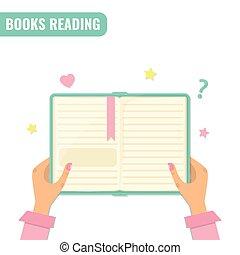 lezende , concept., boekjes , literatuur