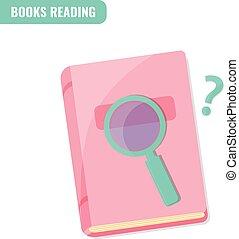 lezende , concept., boekjes , onderzoek