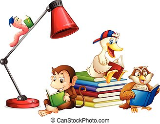 lezende , dieren, boek, vrijstaand