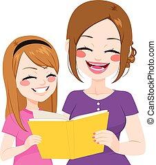 lezende , dochter, moeder