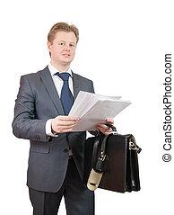 lezende , documenten, zakenman