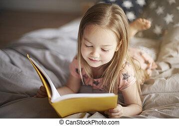 lezende , favoriet, boek, morgen