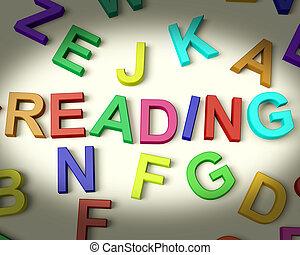 lezende , geschreven, in, veelkleurig, plastic, geitjes, brieven