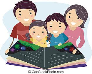 lezende , gezin
