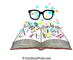 lezende glazen, leren, brief