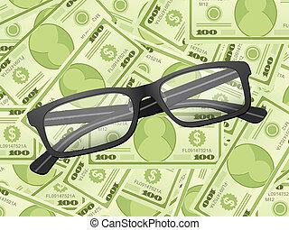 lezende glazen, op, dollar, achtergrond