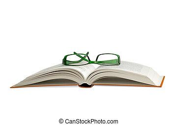 lezende glazen, op, een open boek, op wit, achtergrond