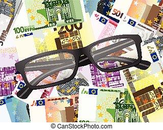 lezende glazen, op, eurobiljetten, achtergrond