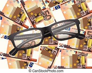 lezende glazen, op, vijftig euro