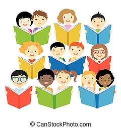 lezende , groep, kinderen