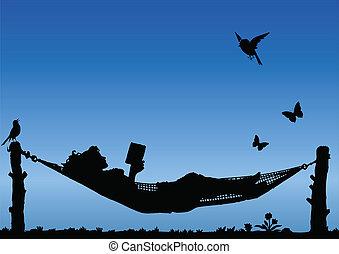 lezende , in, een, hangmat